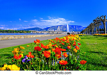 Geneva Spring - Springtime on the corniche in Geneva,...