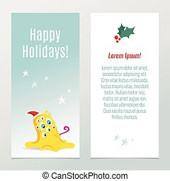 Funny Christmas and New Year holiday banners, vertical flyer templates with cute cartoon yellow monster in Santa's hats and seasonal wishes
