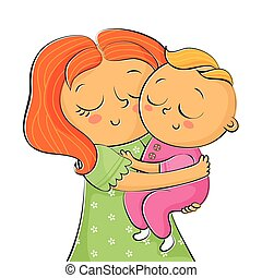 Iillustration of mother holding little daughter isolated on white