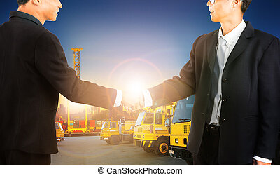 business man shaking hands with successful