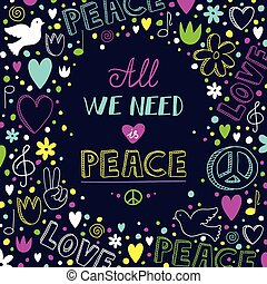 Neon love and peace doodle vector