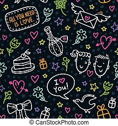 Vector seamless pattern with neon doodles of hearts, flowers, bows, stars, gifts, envelopes and other romantic elements on dark background, love and Valentine's Day theme