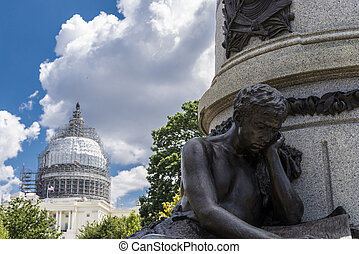 Capitol hill and statue