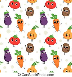 Cute seamless pattern with happy vegetables