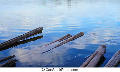 bamboo raft lake beautiful blue sky - bamboo raft restaurant...
