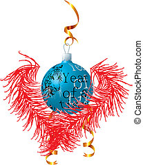 Dark blue New Year\'s ball with a red tinsel. Vector illustration
