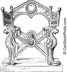 Chair of Dagobert, vintage engraving.