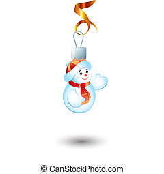 New Year\'s toy in the form of a snowball.Vector illustration