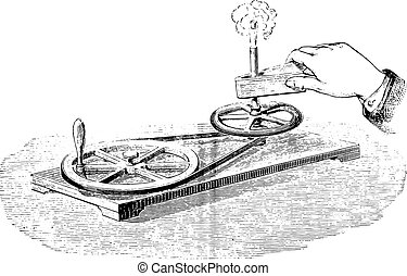 Heat generation by friction, vintage engraving - Heat...
