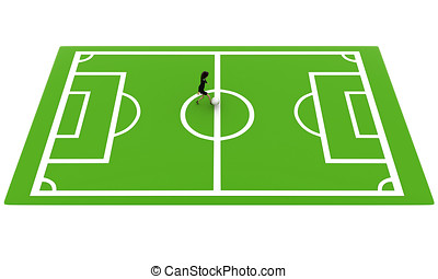 3d woman on football ground concept on white background, top...