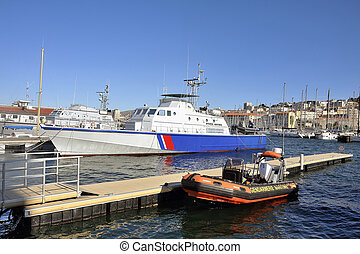 Ship of the French coastguard dock in the old port of...