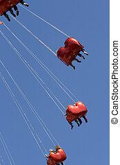 azul, carros, céu, contra,  chairoplane, vermelho