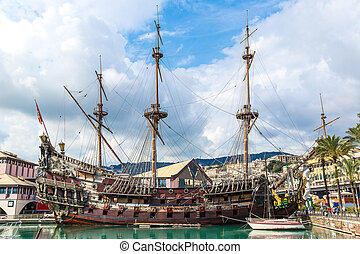 Old wooden ship in Genoa, Italy - Galeone old wooden ship in...