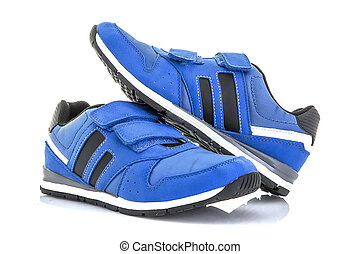 Pair Of Blue Training Shoes on a White Background