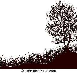 a tree standing in a grass . Vector illustration