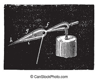 Flame effect on the oxidative substance, vintage engraving -...