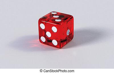 dado, juego, rojo, refracción