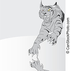 Amur tiger. Vector illustration - spring-elastic tiger....