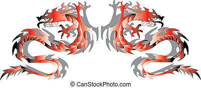 Twins dragons. Vector illustration