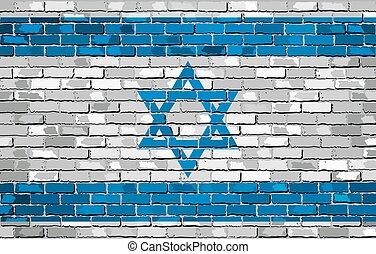Flag of Israel on a brick wall - The Israeli Flag, Israel...