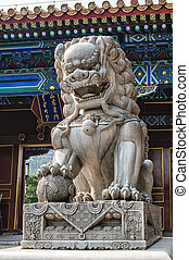 Imperial guardian lion in the Forbidden city Beijing, China