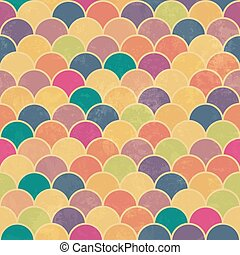 Asian fish scale retro pattern. Colorful, grunge and seamless. Grunge effects can be easily removed.
