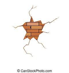crack - vector, crack, brick wall