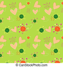 An illustration colorful hearts floral seamless pattern wallpaper