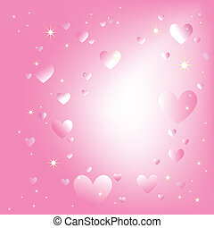 Sparkling hearts stars on romantic pink color background