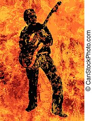 Flaming Guitarist With Electric Guitar - A rock and roll...