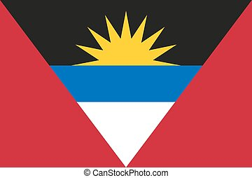 National flag of Antigua and Barbuda - in official colors;...