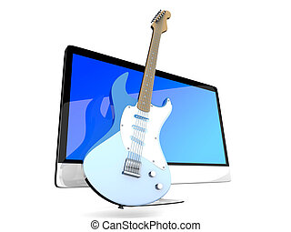 A All in one computer with a Guitar - Digital guitar - A All...