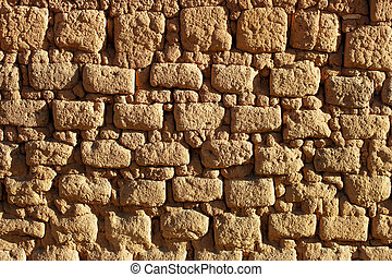 Clay brick wall - Old wall of mud brick