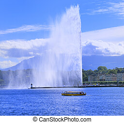 Geneva Fountain - Geneva lake front with the Jet d\'Eau in...