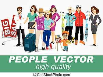 set of diverse people characters