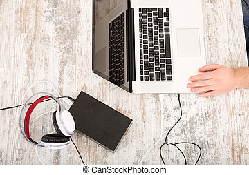 Working at home - A home office with a laptop and tablet