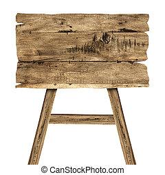 老, 木制, 被隔离, 簽署, 木頭, 白色, 板條
