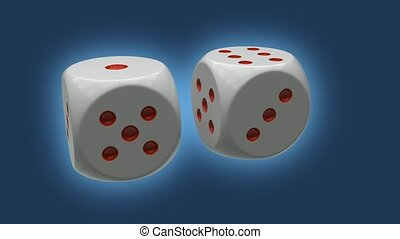Two dices repeatly rotating - high quality 3d animation ,...