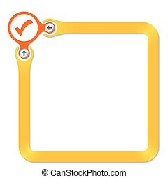 Red circle with arrow and yellow frame for your text