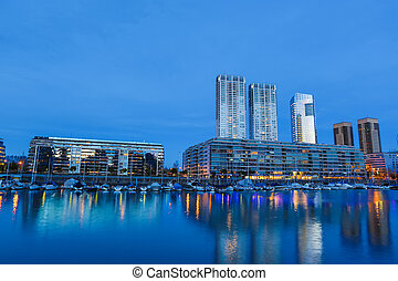 Puerto Madero in Buenos Aires at night - The famous...