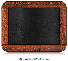 Old Empty Blackboard with Screws - Old blank blackboard with...
