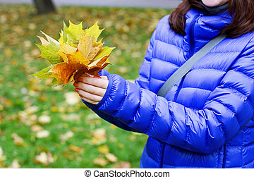 Girl with autumn bouquet - Image of hands girl in a blue...