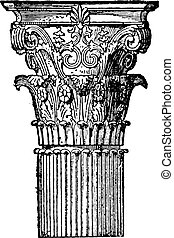 Corinthian capital, vintage engraving.