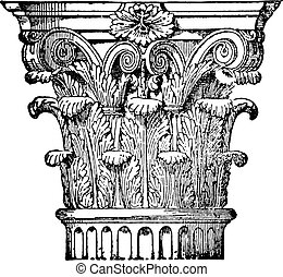 Corinthian capital, vintage engraving - Corinthian capital,...