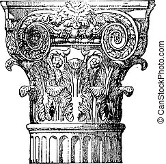 Composite capital, vintage engraving.