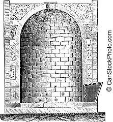Furnace Oberndorf, vintage engraving. - Furnace Oberndorf,...