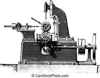 Machine slotting hubs, profile view, vintage engraving. -...
