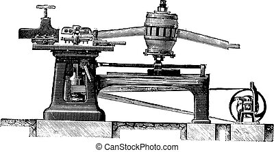 Cutting Machine legs and spindles spokes, Elevation, vintage engraving.