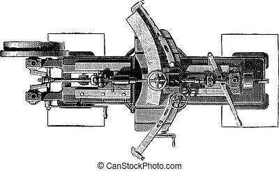 Machine slotting wheels, Plan, vintage engraving. - Machine...