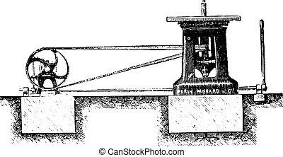 Spindle moulder Elevation, vintage engraving. - Spindle...
